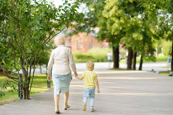 grandma and child walking