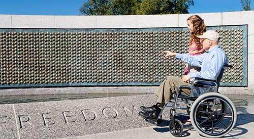 Veteran sitting in a wheelchair